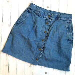 Tanjay Petites Button Up Denim Frayed Hem Skirt S
